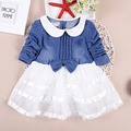 2017 Newborn Cute Cowboy Girl Dress Wedding Birthday Baby Princess Spring Infant Kids Dresses Girls Clothes Tutu Dress