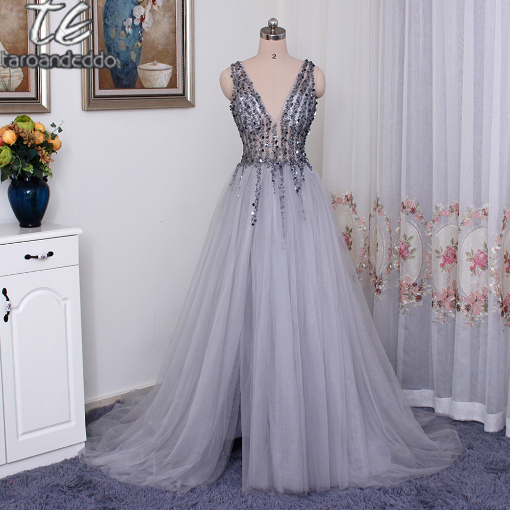 2018 V neck Sparkly Beading   Prom     Dress   Open Back Evening Party   Dress   Elegant Sexy See Through High Split Evening   Dress   Long