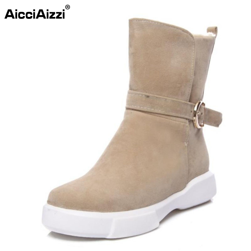 AicciAizzi Size 34-43 Women Half Short Flats Boots Warm Fur Buckle Mid Calf Boot For Cold Winter Shoes Warm Boots Woman Footwear coolcept size 34 43 women half short thick bottom boots cross strap warm shoes cold winter boots mid calf botas women footwear