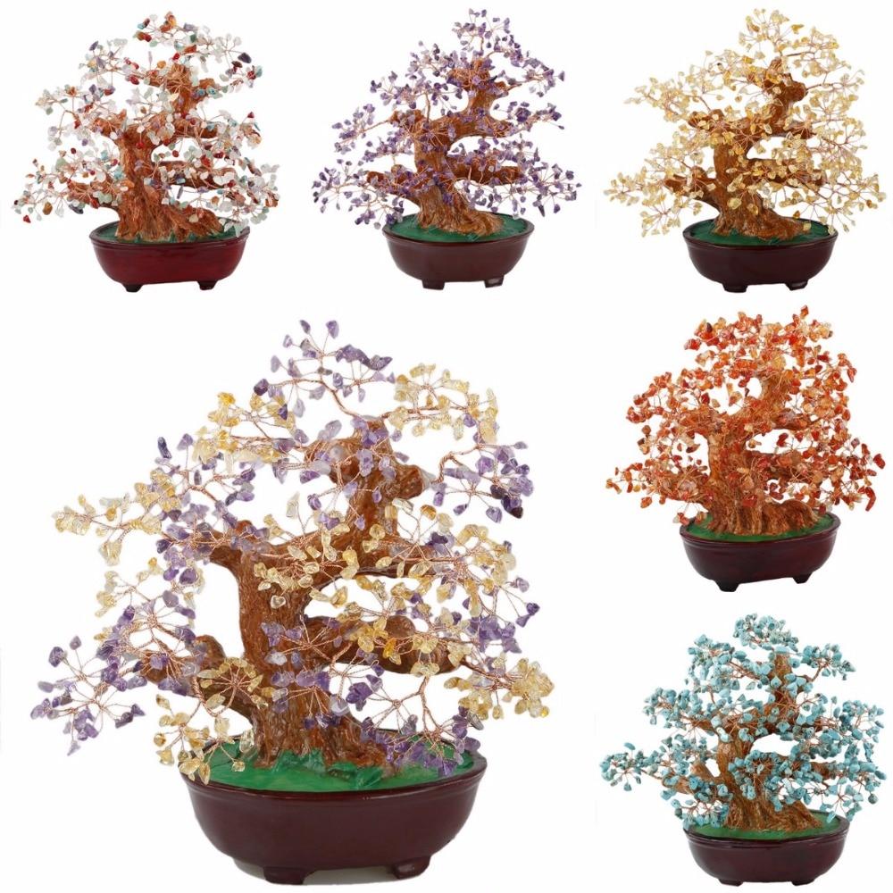 TUMBEELLUWA Natural Citrine Amethyst Carnelian Money Tree Bonsai Tumbled Crystal Wealth Lucky Fengshui Healing Decoration 8 Inch