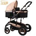 2016 Новый дизайн высокой точки зрения Роскошный детская коляска сидеть и лежать 2 в 1, четыре колеса одноместный детские младенческой коляски коляски