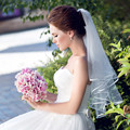 2016 The Best Selling Bridal Tulle White Without Comb Wedding Veils Ribbon Edge one Layer Cheap Bridal Veil Ivory White
