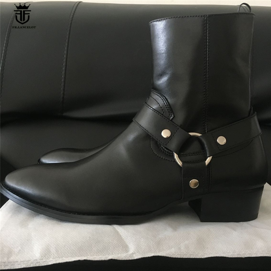 2017 New Genuine Leather Handmade High Top West Justin Luxury Men Boots Black Cow Leather Wyatt Classic Wedge Chelsea Boots real picture luxury handmade classical wyatt homme harness high top chelsea men boots wedge real cow leather suede boots