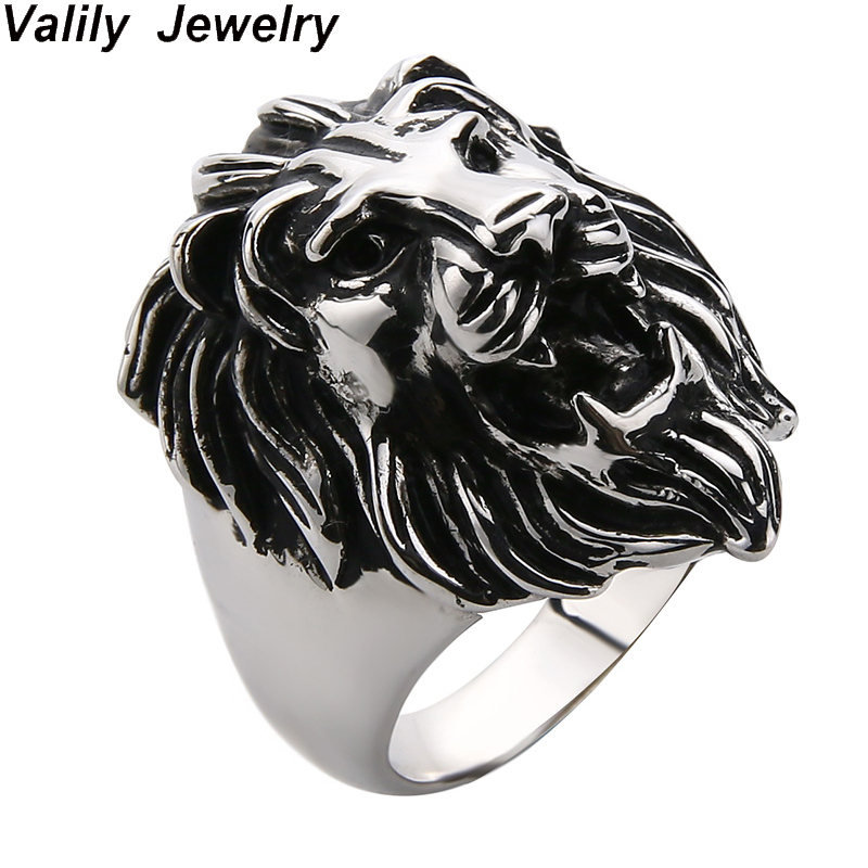 Valily Lion Ring Men Punk Vintage Lion Head Animal Silve Ring For Men 925 Silver Sterling Jewelry 100% 925 Rings Jewelry Gift punk style titanium steel animal ring for men