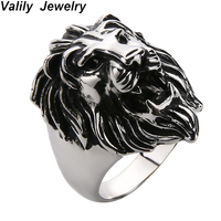 Valily Lion Ring Men Punk Vintage Lion Head Animal Silve Ring For Men 925 Silver Sterling Jewelry 100% 925 Rings Jewelry Gift
