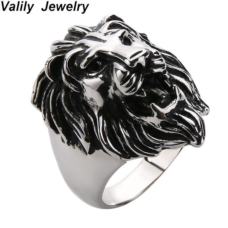 Valily Lion anneau hommes Punk Vintage Lion tête Animal Silve anneau pour hommes 925 argent Sterling bijoux 100% 925 anneaux bijoux cadeau
