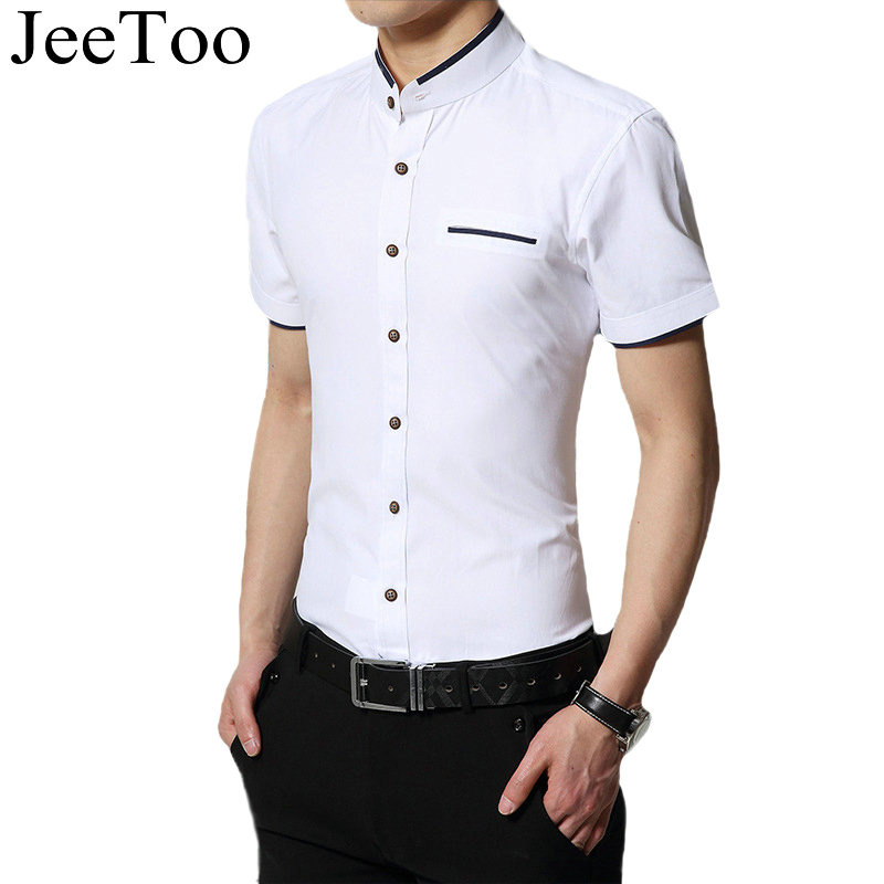 2017 new men shirt short sleeve mens shirts famous brand for Fitted short sleeve dress shirts for men