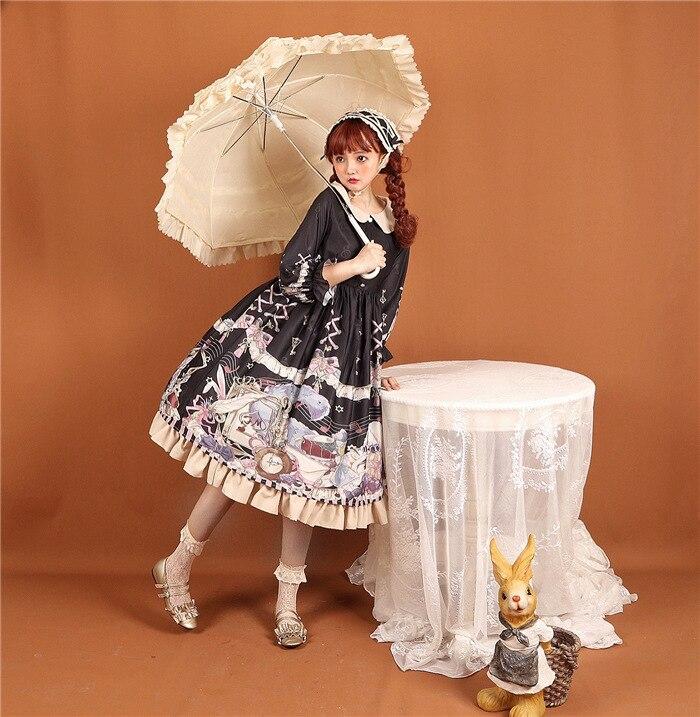 Kaninchen & Alice ~ Süße Gedruckt Hülse Halben Lolita Kleid Peter Pan Kragen Party Kleid-in Kleider aus Damenbekleidung bei  Gruppe 2