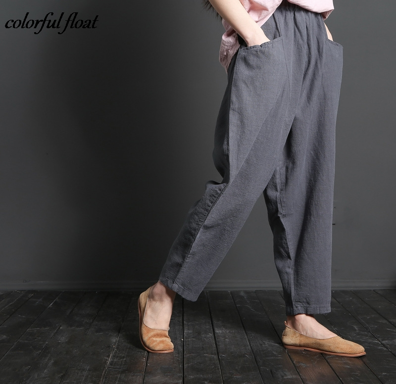 2017 explosion models literary casual cotton and linen ladies wide leg pants