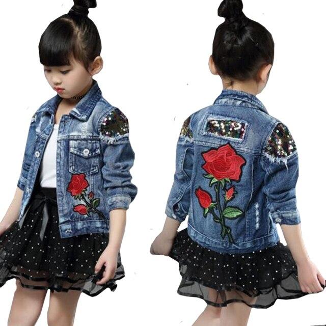 Dżinsowe kurtki dla dziewczynek dla chłopców kurtki i płaszcze kurtka dla dzieci wiosna jesień haft z różami dżinsy płaszcz dziecięca odzież wierzchnia