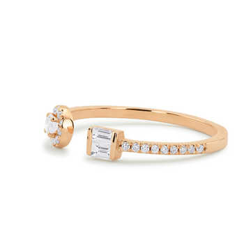 0.35ctw 14k Solid Gold Diamond Ring with Baguette and Round Diamond 100% Real Natural Gemstone Fine Ring For Women