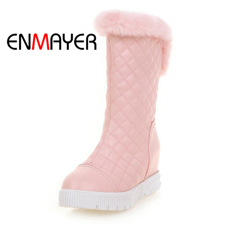 ENMAYER New Microfiber High Quality Mid-Calf New High Quality34-39 Spring And Summer Woman Casual Shoes Black Red Boots WHY108