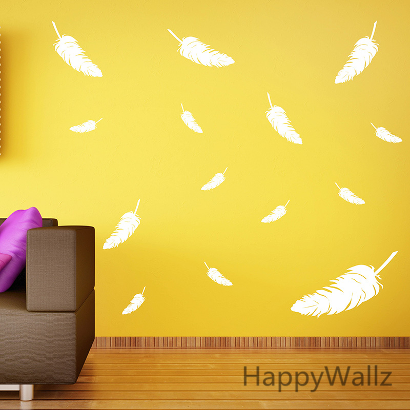 Feather Wall Sticker Feathers Wall Decal DIY Modern Easy Wall ...