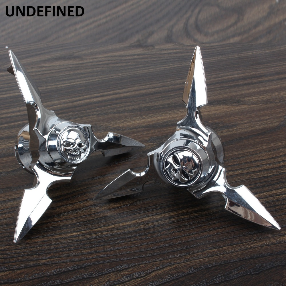 Chrome 3D Skull Front Axle Nut Covers for 08 and Up Harley Davidson V-Rod