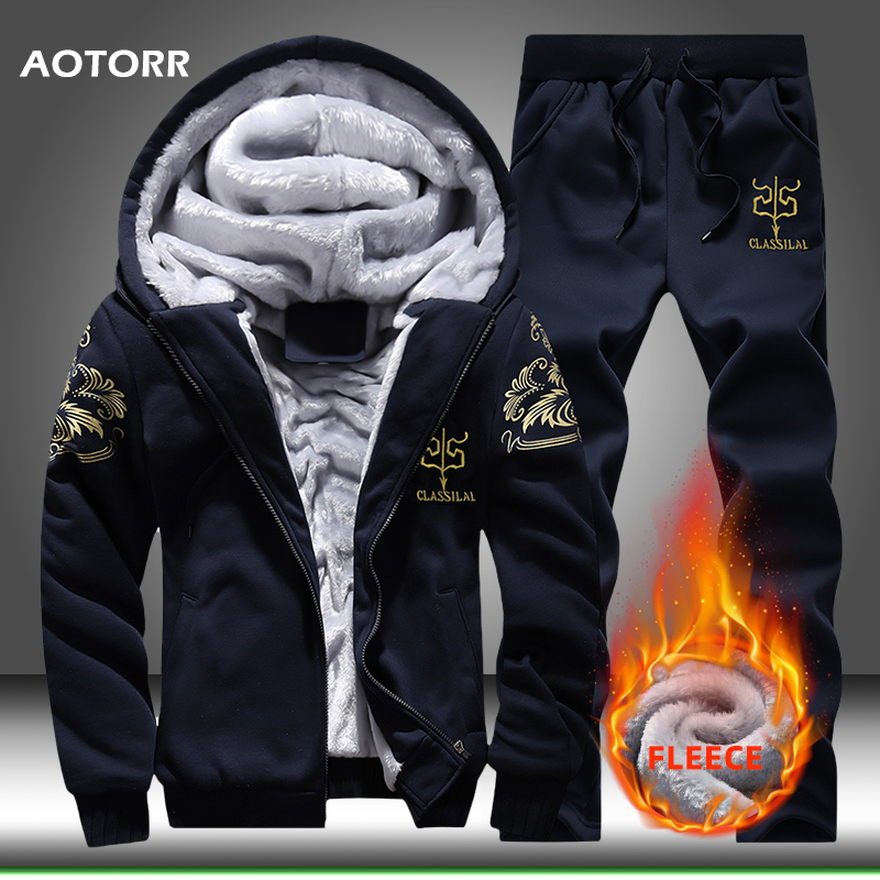 Winter Fleece Hoodies Men Set Casual Hoodie Sweatshirt Thicken Super Warm Mens Tracksuit 2 Piece Sets Jacket+Pants Drop Shipping