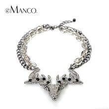 Collar colgante de los ciervos animales rhinestone gargantillas collares para mujeres eManco aleación mulitlayer cadena de imagen de marca joyería de la vendimia
