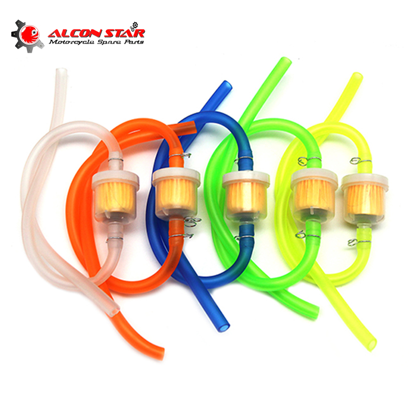 Alconstar- 6mm Motorcycle Gas Fuel Filter Petrol Pipe Hose Line + 4 Clips Moto Scooter Dirt Bike Off Road Quad ATV Bike Racing