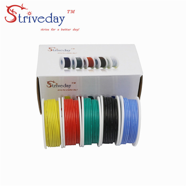 30 meters/box 20AWG 6meters /roll Flexible Silicone Solid electronic wire Tinned Copper line Kit 5 Colors DIY