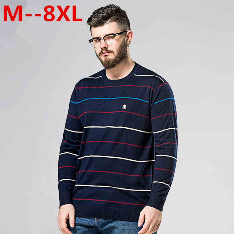 Plus Size 10XL 8XL 6XL 5XL Sweater 2017 New Arrival Mens Fashion Striped Simple Soft Pullover Male Casual Easy Match Sweaters