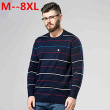 Plus Size 10XL 8XL 6XL 5XL Sweater 2017 New Arrival Men's Fashion Striped Simple Soft Pullover Male Casual Easy Match Sweaters
