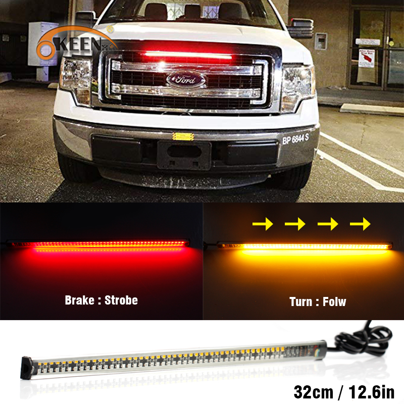 OKEEN 22cm Stop Brake led Strip red flashing light Amber turn Signal car Sequential Running Switchback