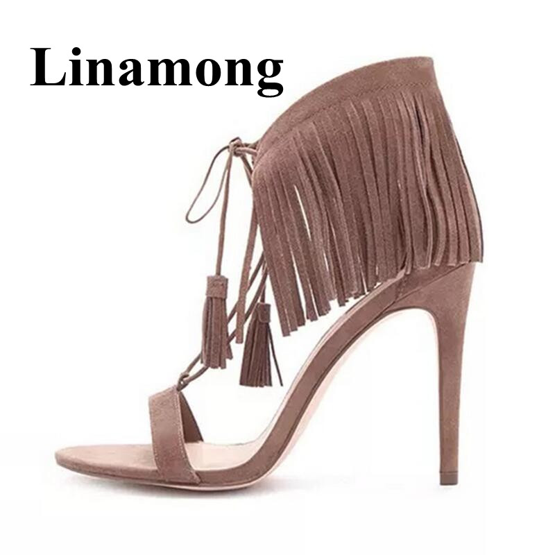 Summer Newest Fashion Fringe Open Toe High Heel Lace Up Cover Heel Hottest Shoes Flock Solid Sexy Women Sandals Normal SizeeSummer Newest Fashion Fringe Open Toe High Heel Lace Up Cover Heel Hottest Shoes Flock Solid Sexy Women Sandals Normal Sizee