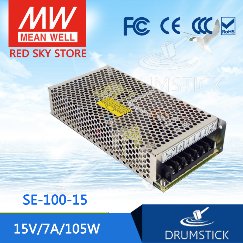 Selling Hot MEAN WELL SE-100-15 15V 7A meanwell SE-100 15V 105W Single Output Switching Power Supply best selling mean well se 200 15 15v 14a meanwell se 200 15v 210w single output switching power supply