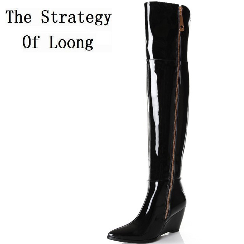 2016 New Women Wedges Genuine Leather Pointed Toe Side Zipper Autumn Winter Fashion Over The Knee Boots Plus Size 41-45 women winter genuine leather low heel rivets pointed toe side zipper fashion over the knee boots plus size 33 43 sxq1013