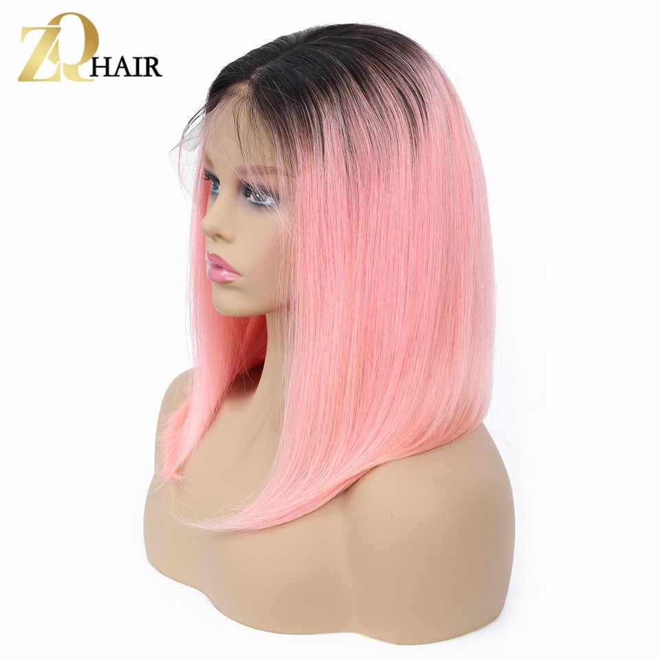 Бесклеевой Синтетические волосы на кружеве парики из натуральных волос на кружевной 1B/розовый Боб Синтетические волосы на кружеве парики бразильские прямые волосы парик для волос деграде с темные корни человеческие ZQ волос