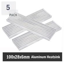 5pcs Gdstime Aluminum Heat Sink Radiator Heatsink Cooling Fin 100x28x6mm Silver Tone