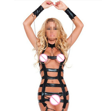 Patent Leather Latex Catsuit Sexy Lingerie with Sexy Collar Handcuffs Women Sex Bondage Body Harness Lingerie Costumes Babydoll