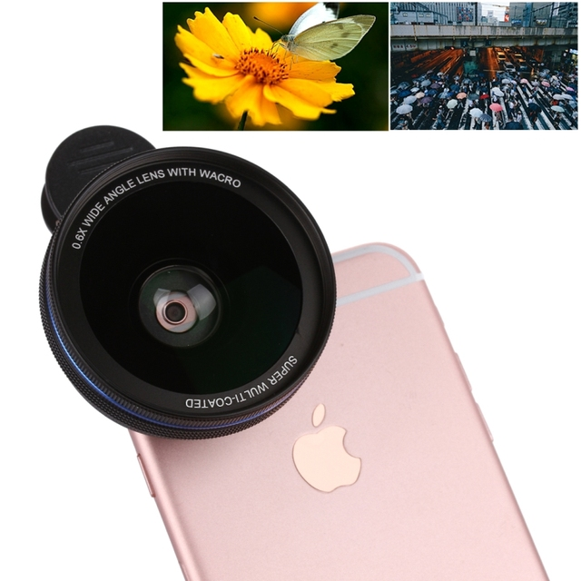 Super Gran Angular 0.6X Lente Universal Del Teléfono de Metal Clip Smartphone Macro lentes de cámara de lentes para iphone 6 s plus htc samsung s7 edge