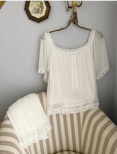 Image 4 - נשים של לוליטה נסיכת פיג מה סטים לפרוע חולצות + מכנסיים קצרים. בציר גברת ילדה של תחרה רשת פיג סט. ויקטוריאני הלבשת Loungewear