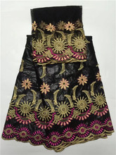 Black Buzin riche fabric gold african embroiled basin riche getzner Lace Fabric with 2yards french tulle lace(China)
