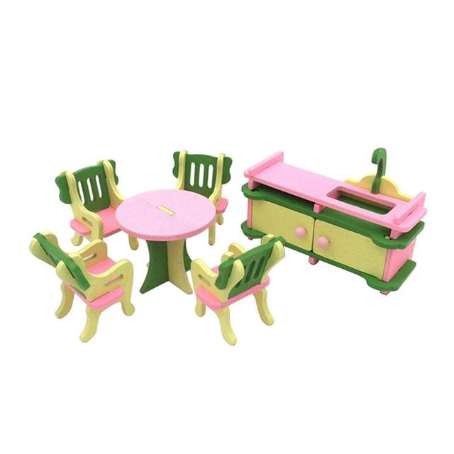 Miniature Dollhouse Furniture Set Traditional Wooden Family Toys for