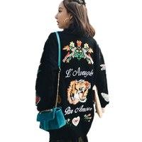 winter Fashion women Long sweater cardigan autumn 2019 female casual cardigan women sweater embroidered flowers tiger SUN55