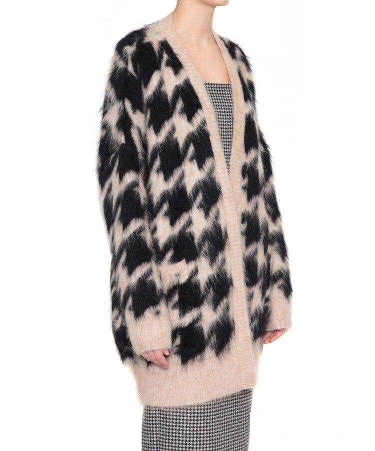 Nouvelles Outwear Veste Long Vison Fille Femmes De Cachemire Dames Chandail Gilet Cardigan Manteau Mode Tricoté Tricot Fourrure rqrOwvZ1
