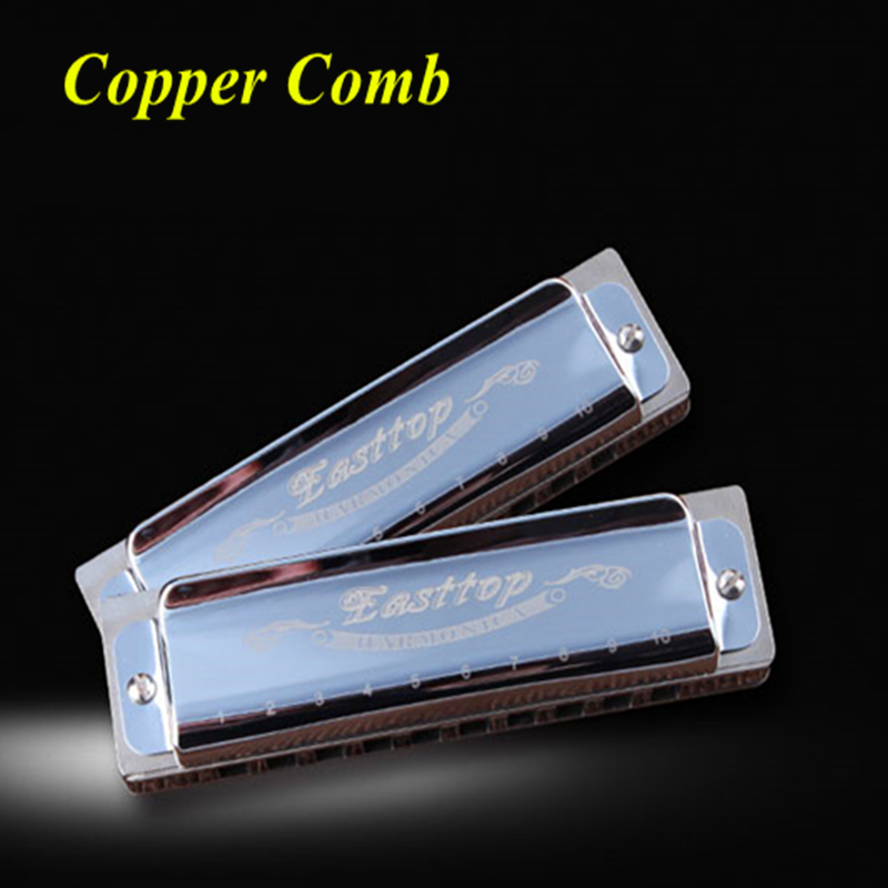 Easttop Brand Blues Harmonica 10 Holes Mouth Ogan Instrument Copper Comb/Frets Armonica Blues Diatone BluesHarp Harmonica 10