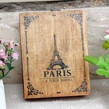 Vintage Paris Tower Cover caja de madera antigua oficina en casa caja de almacenamiento de artículos diversos escritorio decorativo artesanía caja para libros DIY Retro caja de madera