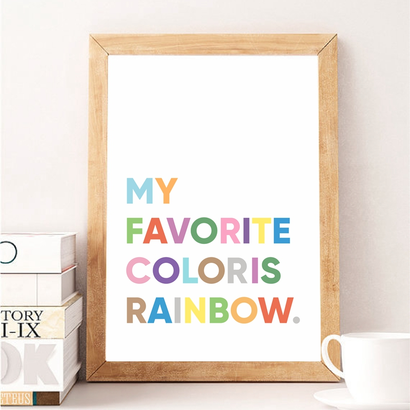 My Favorite Color Is Rainbow Colorful Quotes Wall Art Canvas Poster Painting Inspirational Words Picture Print Home Room Decor