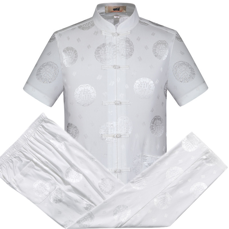Oriental_element Chinese Style Men's Short Sleeve Dragon Kung Fu Suits Sets Shirt+Pants S M L XL XXL 3XL 062702