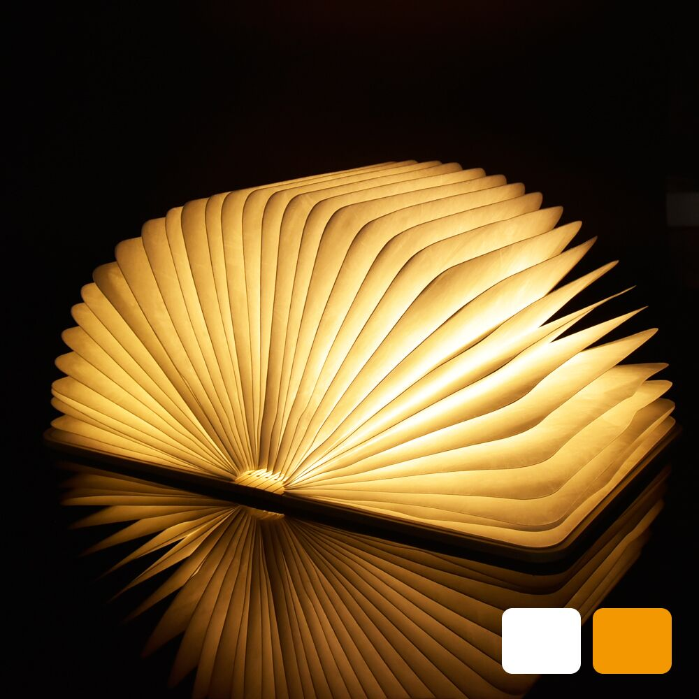 LED Night Light Folding Book Light USB Port Rechargeable Wooden Magnet Cover Home Table Desk Ceiling Decor Lamp White/WarmWhite