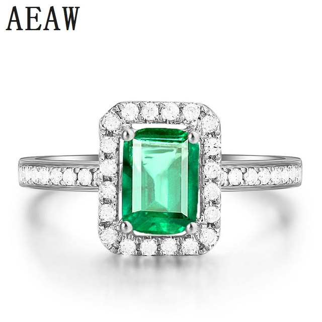 2.7CT AAA Lab created Colombian Emerald Engagement Ring with Moissanite Pave Setting 14k White Gold for Women Fine Jewelry