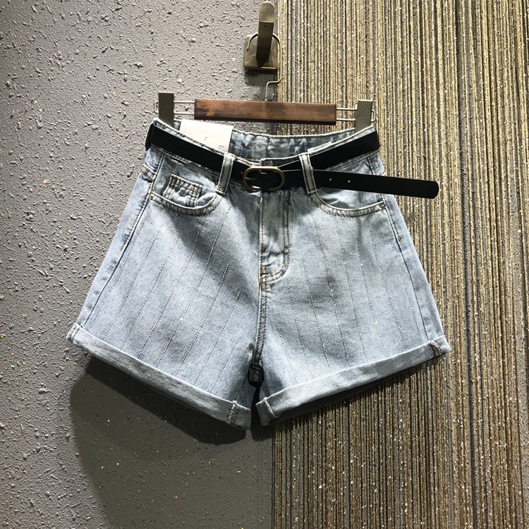 Bottoms European 2019 New Spring And Summer Vertical Hot Drill High Waist Jeans Short Student Girls Casual Denim Shorts Hot Pants Promote The Production Of Body Fluid And Saliva Women's Clothing