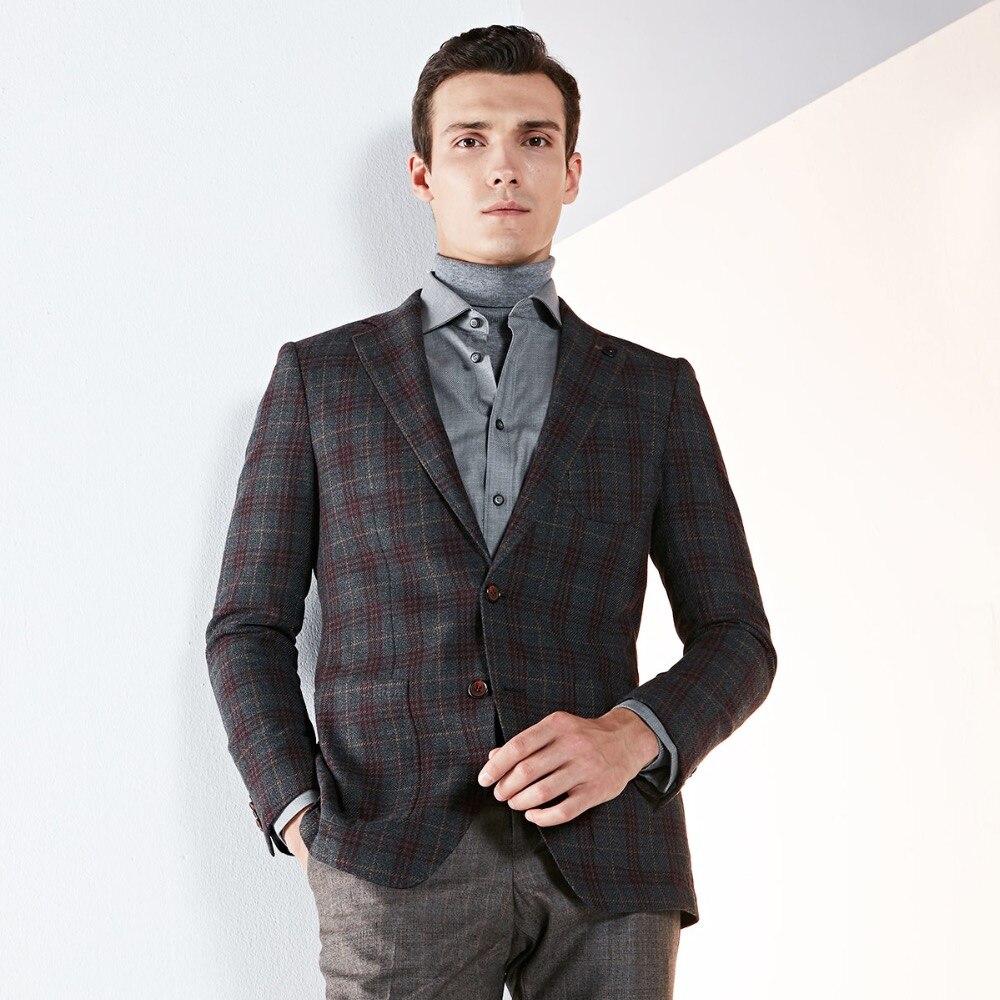 Пиджак мужчины 91% шерсть высокого качества мужские пиджаки 2018 осень smart casual однобортный коричневый серый плед с длинным рукавом мужская оде...