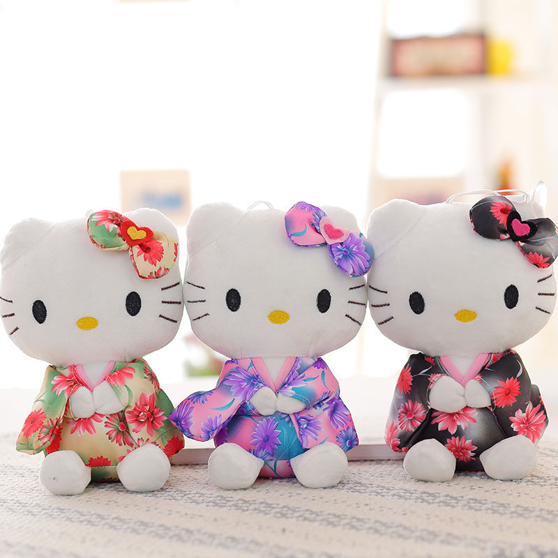 20cm KT cat plush toys hello kitty stuffed dolls for girls kids toys gift wear Japanese kimono cute pig kt mini plush doll стоимость