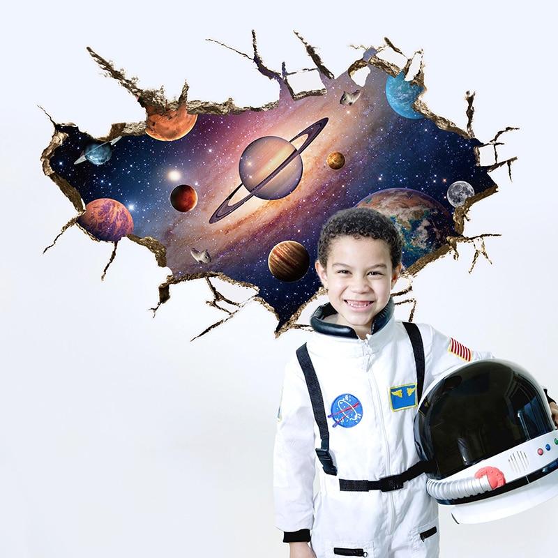 ᑎ‰3D стены Стикеры космического пространства астронавты в ... 661e6c4d8fc18