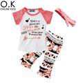 Girls Clothing Set Boutique Letter Arrow T Shirts+Pants+Headband 3pcs Baby Clothes 2017 Brand Summer Toddler Girl Clothing Sets