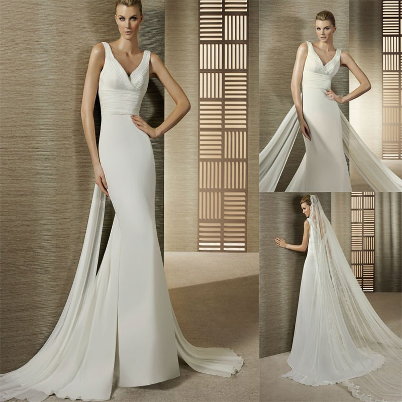 [تصویر:  Simple-V-neck-Ruched-Waist-Slim-A-line-C...-Gowns.jpg]