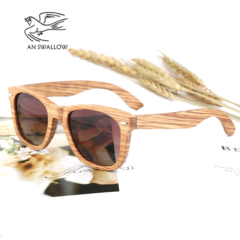 AN SWALLOW Real Zebra Wood Sunglasses Polarized Handmade Bamboo Mens Sunglass Sun glasses Men Gafas Oculos De Sol Madera